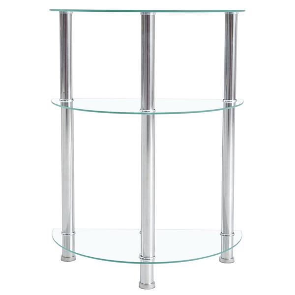 58*30*76cm Three-layer Tempered Glass Stainless Steel Tube Semicircular Side Table