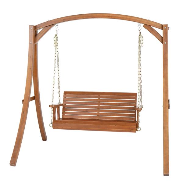 4ft Cedar With Iron Chain 500lbs Double Wooden Swing Dark Brown(Swing frames not included)