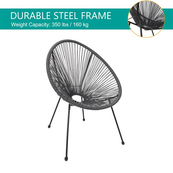3-Piece All-Weather Patio Acapulco Bistro Furniture Set with 2 Chairs & Glass Top Table Gray