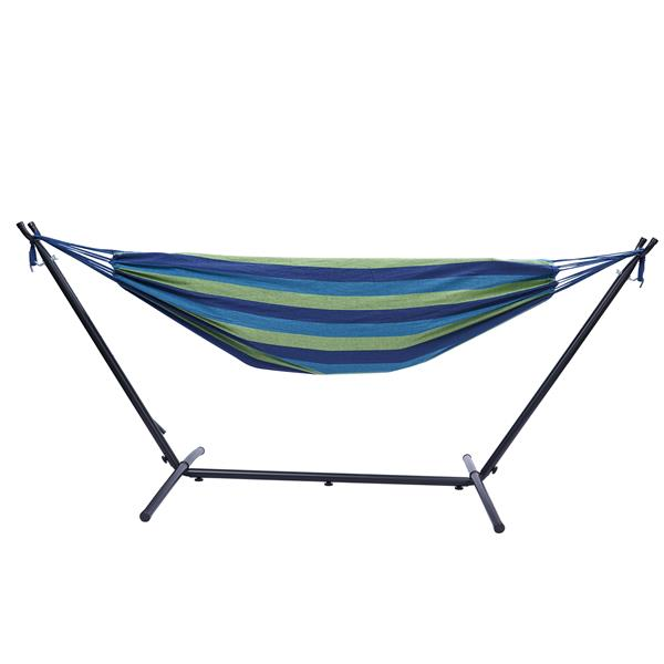 """112"""" Large Size Double Classic Hammock with Stand for 2 Person- Indoor or Outdoor Use-with Carrying Pouch-Powder-coated Steel Frame - Durable 450 Pound Capacity,Blue/Green Striped"""