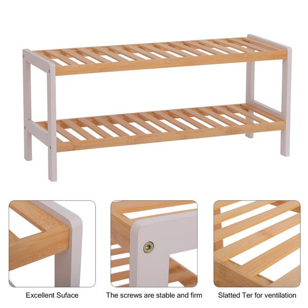 100% Bamboo Shoe Rack Bench, Shoe Storage, 2-Layer Multi-Functional Cell Shelf, Can Be Used For Entrance Corridor, Bathroom, Living Room And Corridor 70 * 25 * 33 - Natural and White