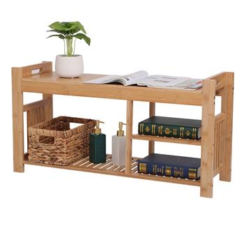 100% Bamboo Shoe Stool With Cushion, Three-Layer Entrance Bench With Shoe Rack, Shoe Stool With Storage Rack In Bedroom And Bathroom 29.2 * 96 * 49cm