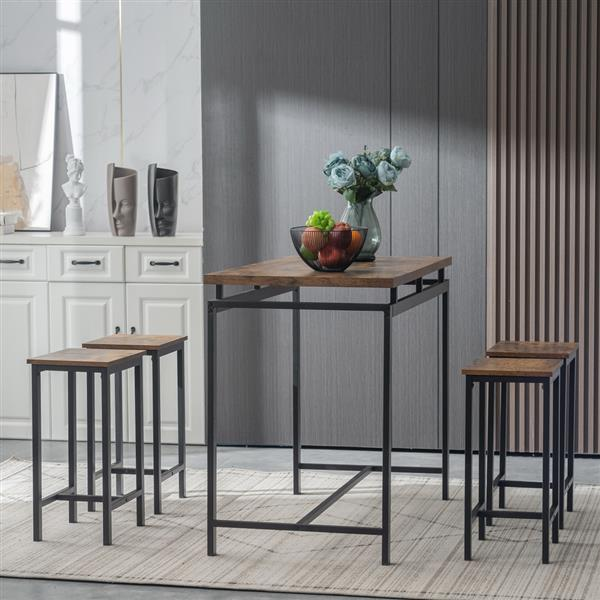 5 Piece Dining Table Set, Dining Set for 4, Wooden Table and 4 Stools, Rustic Wood & Black