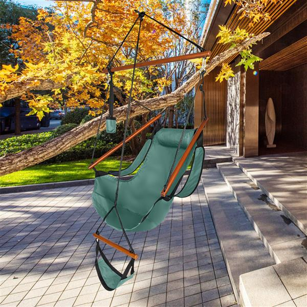 Oxford Cloth Hardwood With Cup Holder Wooden Stick Perforated 100kg Seaside Courtyard Oxford Cloth Hanging Chair   Green