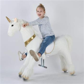 UFREE Large 44'' Ride-on Unicorn for Children 6 Years Old to Adult. (White Unicorn with Golden Horn)