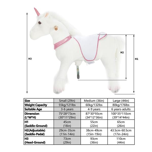 UFREE Small 29'' Ride-on Unicorn for Children 3-6 Years Old. (White Unicorn with Pink Horn) (DO NOT SELL ON AMAZON) (DISCOUNT ON BULK PURCHASE)