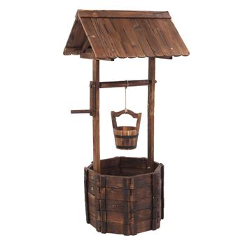 Outdoor Reinforced  And  Anticorrosive Wooden Wishing Well Flowerpot