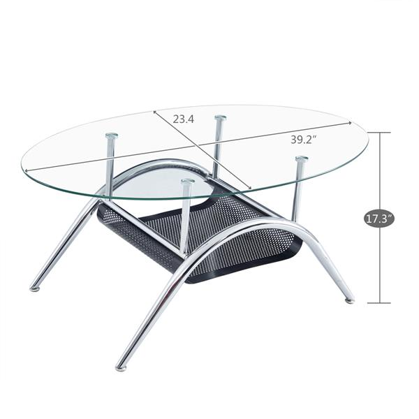 60*100*43cm Bottom Iron Sheet Crimping Tempered Glass Stainless Steel Legs Oval Coffee Table