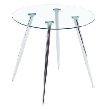 80*80*75cm Round Glass Dining Table Transparent Glass Table Leg Cross Design