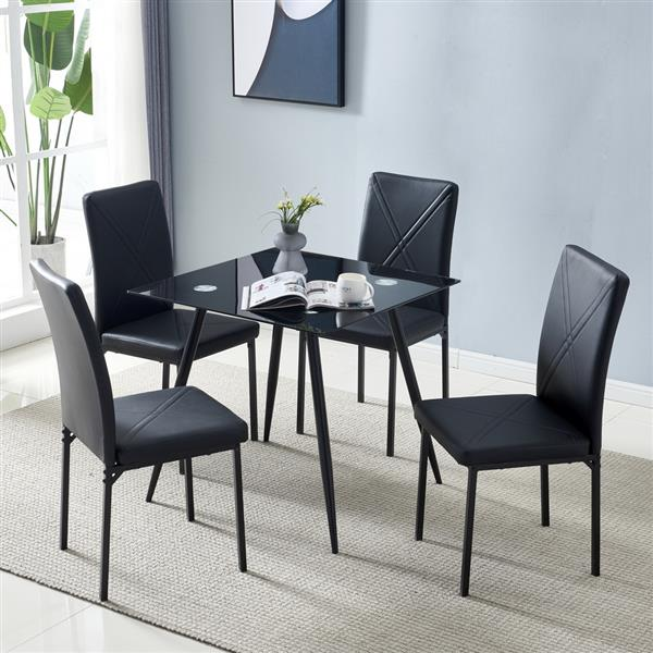 80*80*75cm Glass Dining Table Black