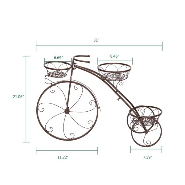 Artisasset  1pc Bronze Color Paint Bicycle Shape 3 Seat Plant Stand