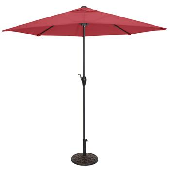 9FT Half Umbrella Waterproof Folding Sunshade Wine Red(Resin Baseis not included, and 75690825、65010574、94617980、53133242 codes are required for the r