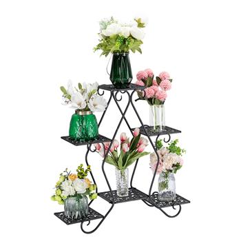 Artisasset One Black Paint 30.3 Inch High Pentagon 3 Layers 5 Seats Potted Plant Stand  With Pattern Layout