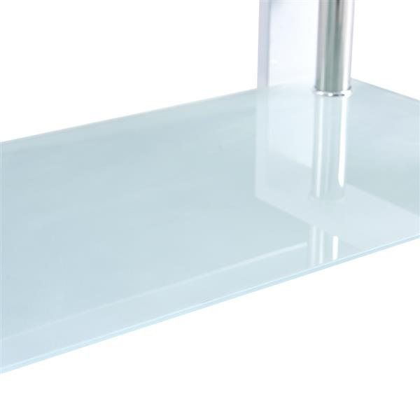 110*60*45.5cm Double-Glazed Dining Table Stainless Steel Table Legs