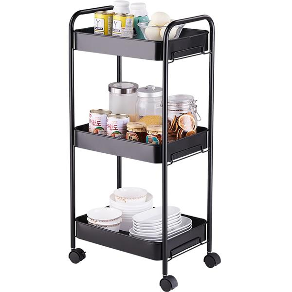 3-Tier Mobile Utility Cart Kitchen Cart with Caster Wheels Black