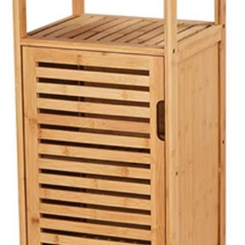 100% Bamboo Bathroom Floor Cabinet, Double Deck Shelf With Single Door And Cell For Stand-Alone Kitchen Cabinet, Living Room / Corridor / Bedroom / Ki