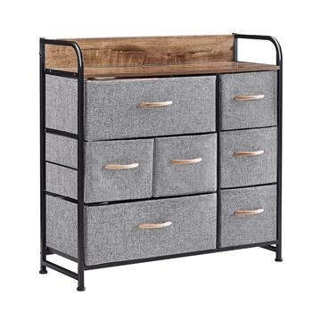 7 Drawer Dresser, Dresser Organizer, Fabric Dressers for Bedroom, Storage Tower for Hallway, Entryway, Closets, Sturdy Steel Frame, Wood Top & Handles