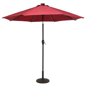 9FT Strip Light Umbrella Waterproof Folding Sunshade Wine Red(Resin Baseis not included, and 75690825、65010574、94617980、53133242 codes are required fo