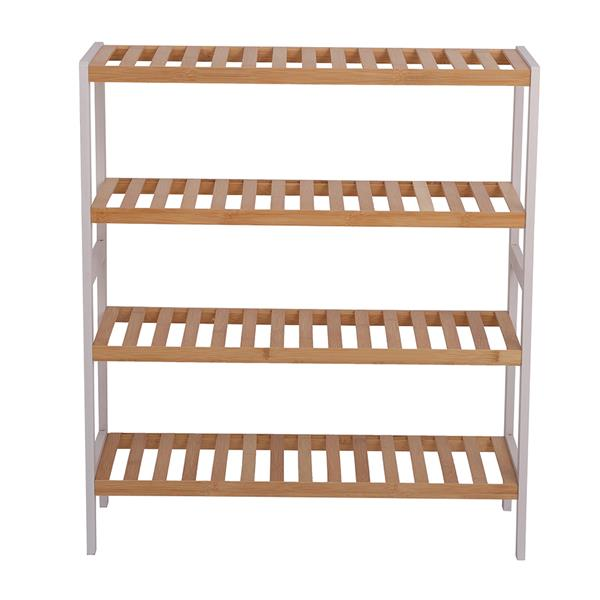 100% Bamboo Shoe Rack Bench, Shoe Storage, 4-Layer Multi-Functional Cell Shelf, Can Be Used For Entrance Corridor, Bathroom, Living Room And Corridor 70 * 25 * 80 - Natural and White