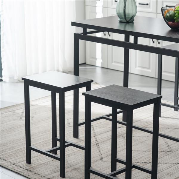 5 Piece Dining Table Set, Dining Set for 4, Wooden Table and 4 Stools, Black