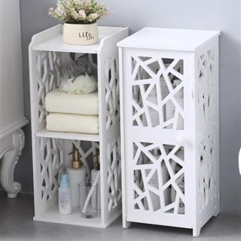 PVC Furniture Bathroom Shelf Geometric Pattern up and Down Layered Structure Single Door 【28*28*120cm】