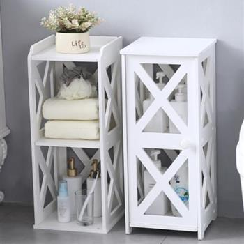 PVC Furniture, Bathroom Shelf, Cross Pattern, Layered Structure From Top to Bottom, Single Door 【28*28*120cm】