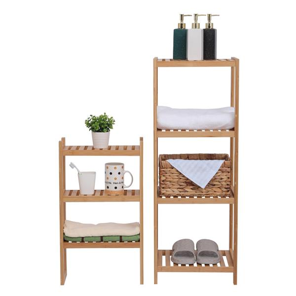 100% Bamboo Bathroom Rack, Multi-Functional And Removable 7-Layer Shelf, Multi - Function 72 * 43.5 * 160.7cm-Natural