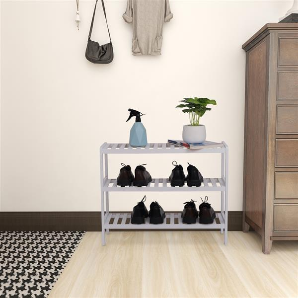 100% Bamboo Shoe Rack Bench, Shoe Storage, 3-Layer Multi-Functional Cell Shelf, Can Be Used For Entrance Corridor, Bathroom, Living Room And Corridor 70 * 25 * 55 - White