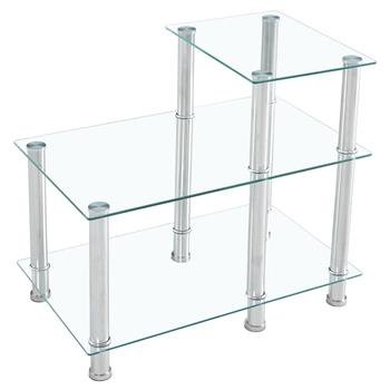 66*40*61cm Three-layer Stepped Tempered Glass Stainless Steel Tube Rectangle Side Table