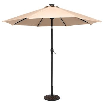 9FT Strip Light Umbrella Waterproof Folding Sunshade Top Color(Resin Baseis not included, and 75690825、65010574、94617980、53133242 codes are required f