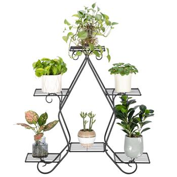 Artisasset a 30.3 Inch Tall, Pentagonal, 3 Stories, 5 Vertical Striped Potted Plant Racks With Black Paint