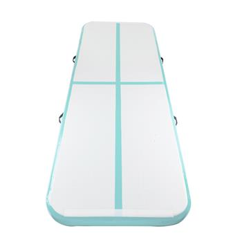 10' x 3.3' Inflatable Gymnastic Mat Tumbling Mat with  Air Pump for Home Use, Beach, Park and Water Green&Gray