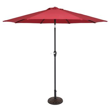 9FT Central Umbrella Waterproof Folding Sunshade Wine Red(Resin Baseis not included, and 75690825、65010574、94617980、53133242 codes are required for th