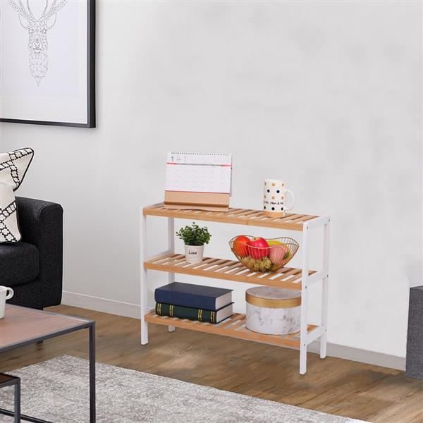 100% Bamboo Shoe Rack Bench, Shoe Storage, 3-Layer Multi-Functional Cell Shelf, Can Be Used For Entrance Corridor, Bathroom, Living Room And Corridor 70 * 25 * 55 - Natural and White