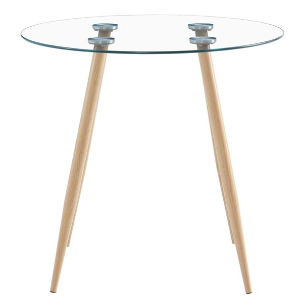 80*80*75cm Round Glass Dining Table Transparent Glass Table Leg Cross Design (only table)