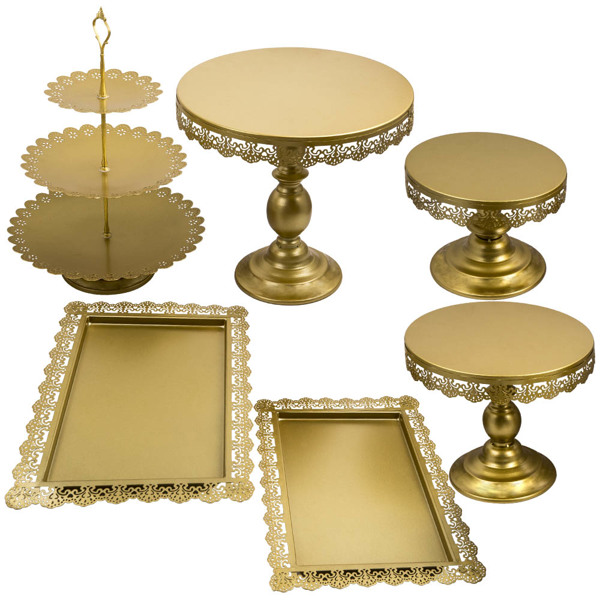 6pcs Cake Stand Dessert Cupcake Display Tray Fruit Holder Plates Party Supply