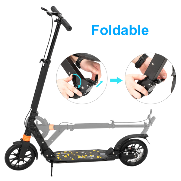 Scooter For Adult&Teens,3 Height Adjustable Easy Folding Double Shock Absorber Black
