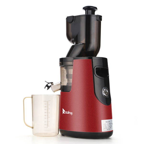 ZOKOP 120V 150W 1000ml Juice Cup Red Plastic 1500ml Pomace Cup Two-speed Mechanical Vertical Electric Cold Press Slow Masticating Juicer