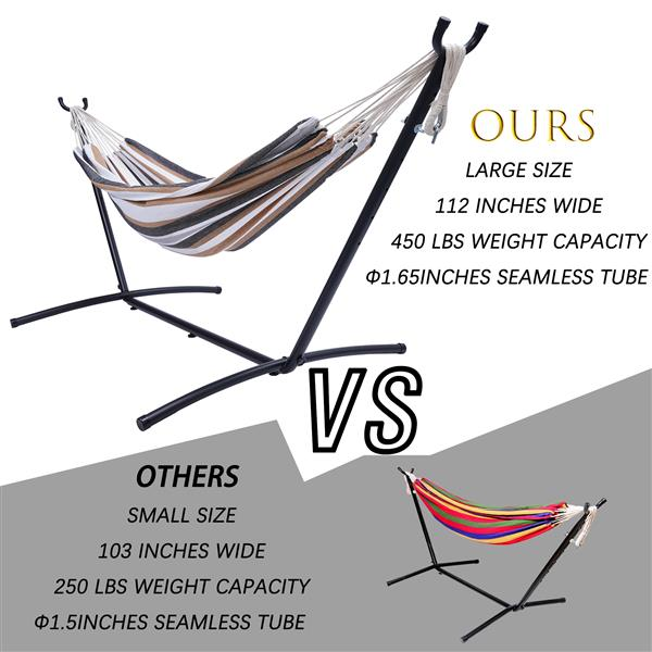 """112""""Large Size  Classic Hammock with Stand for 2 Person- Indoor or Outdoor Use-with Carrying Pouch-Powder-coated Steel Frame - Durable 450 Pound Capacity,Brown/Gray Striped"""