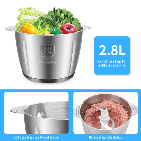 ZOKOP120V 500W 2.8l Stainless Steel Color Stainless Steel two-Speed Meat Grinder