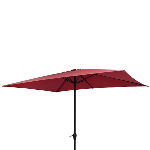 10FT Square Umbrella Waterproof Folding Sunshade Wine Red(Resin Baseis not included, and 75690825、65010574、94617980、53133242 codes are required for the resin base)