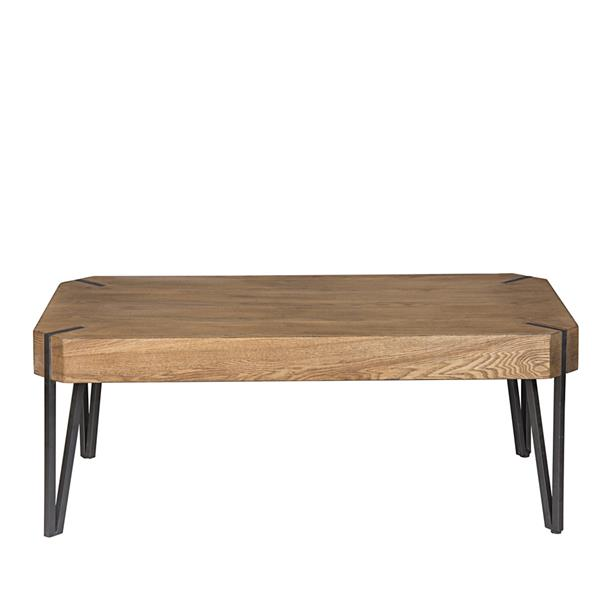 Hodely Rustic Coffee Table Wood and Metal Cocktail Table for Living Room Brown Black
