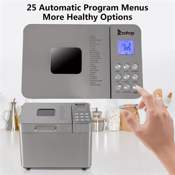 ZOKOP BM8205 Bread Machine,2LB Stainless Steel Programmable Bread Maker Machine With Exhaust Funnel and Powerful DC Motor 110V 550W US Plug
