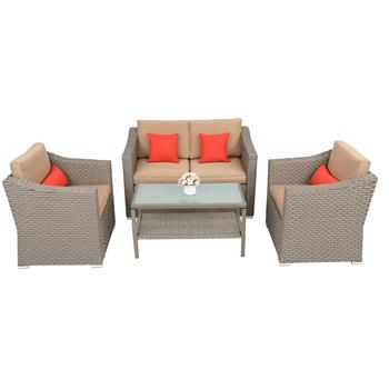 Wide Rattan Double Contiguous Rattan Four-Piece Suit 1 Double 2 Single 1 Double Coffee Table Gray