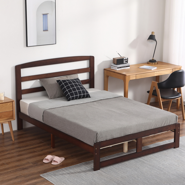 Pine Horizontal Plank Bed Walnut Color 4FT