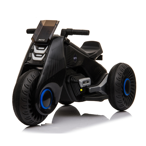 Children's Electric Motorcycle 3 Wheels Double Drive Black