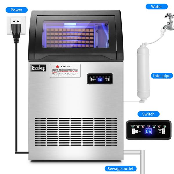 ZOKOP Commercial Stainless Steel Freestanding Ice Maker Cube Machine, 200lbs/24H for Home/Kitchen/Office/Restaurant/Bar/Coffee Shop