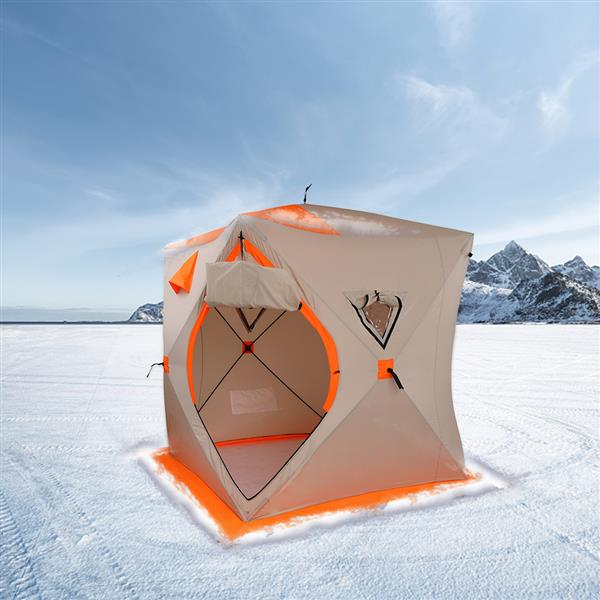 180*180*200cm Cold Resistance Wind And Rain Protection Suitable For Outdoor Fishing Ice Fishing Tent Orange And White