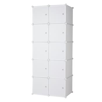 10 Cube Organizer Stackable Plastic Cube Storage Shelves Design Multifunctional Modular Closet Cabinet with Hanging Rod White