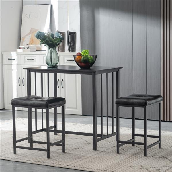 3 Piece Dining Table Set, Dining Set for 2, PVC Table and 2 Stools, Black